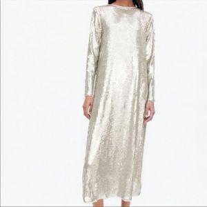 Zara   Blogger Favorite Silver Sequin Knit Dress S